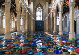 Our Colour Reflection by Liz West showing hundreds of coloured reflective discs arranged across the floor of 20-21