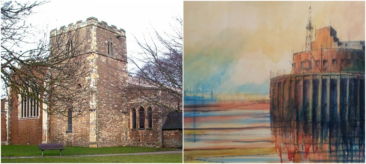 Terry Clarke Outdoor Drawing Workshop at 20-21 Visual Arts Centre. Left - St Lawrence's Church. Right - architectural drawing by Terry Clarke