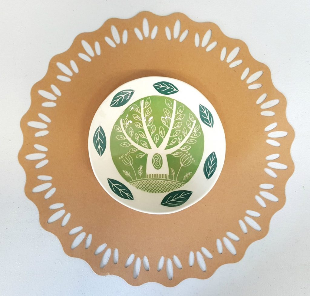Kath Cooper Ceramics - Small Bowl with light green tree design and dark green leaves on the outer-rim