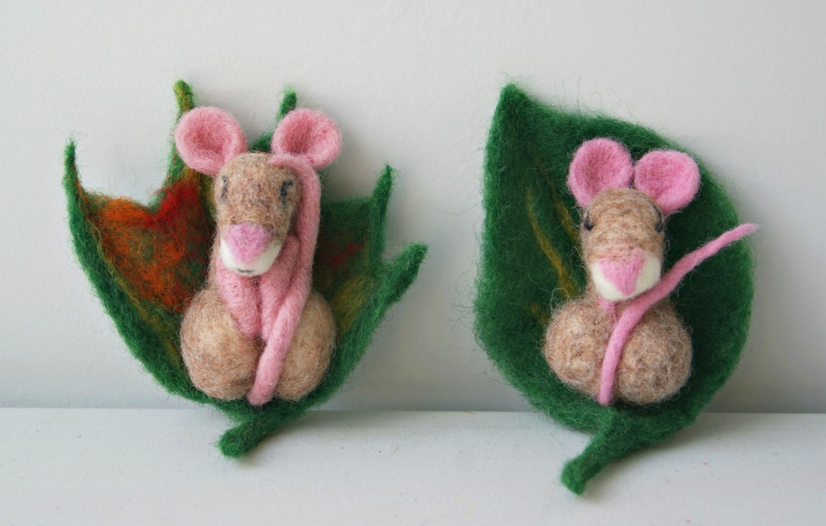 Brown felt mice, Crafted by Snorky