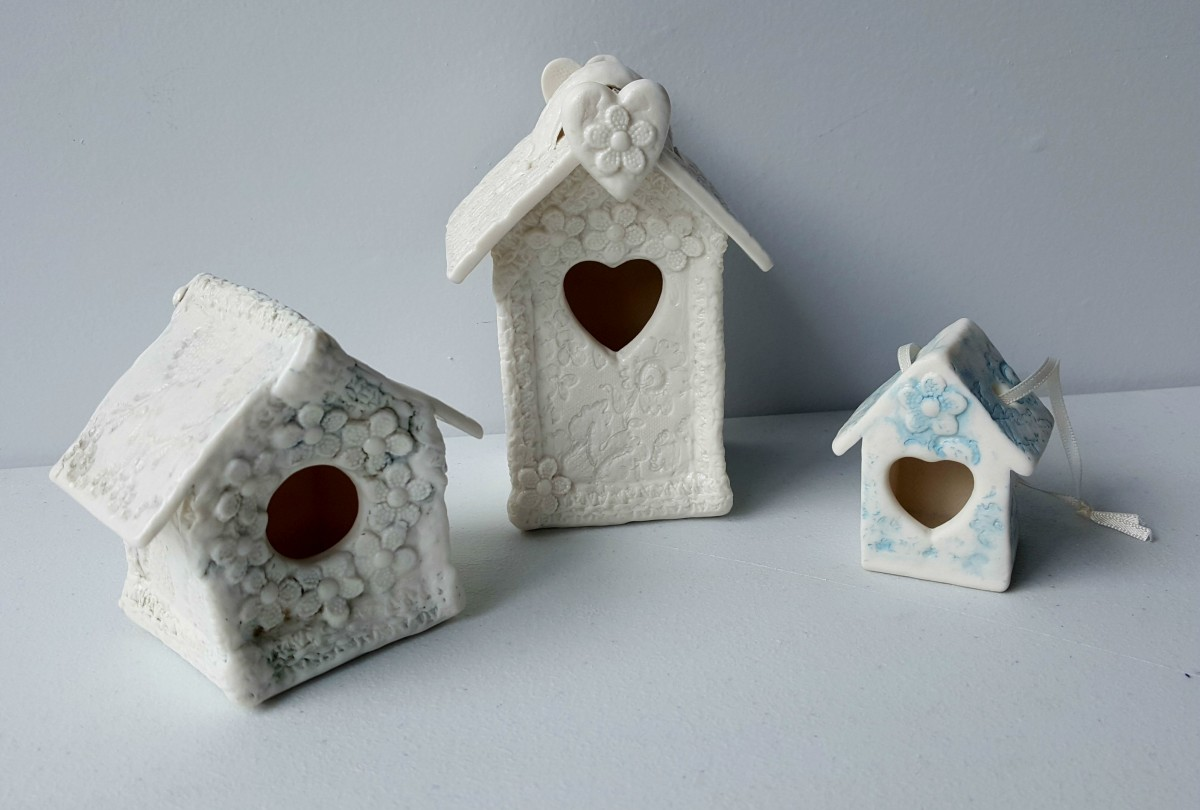 Amanda Mercer ceramic bird houses - large (centre), medium (left) and small (right)