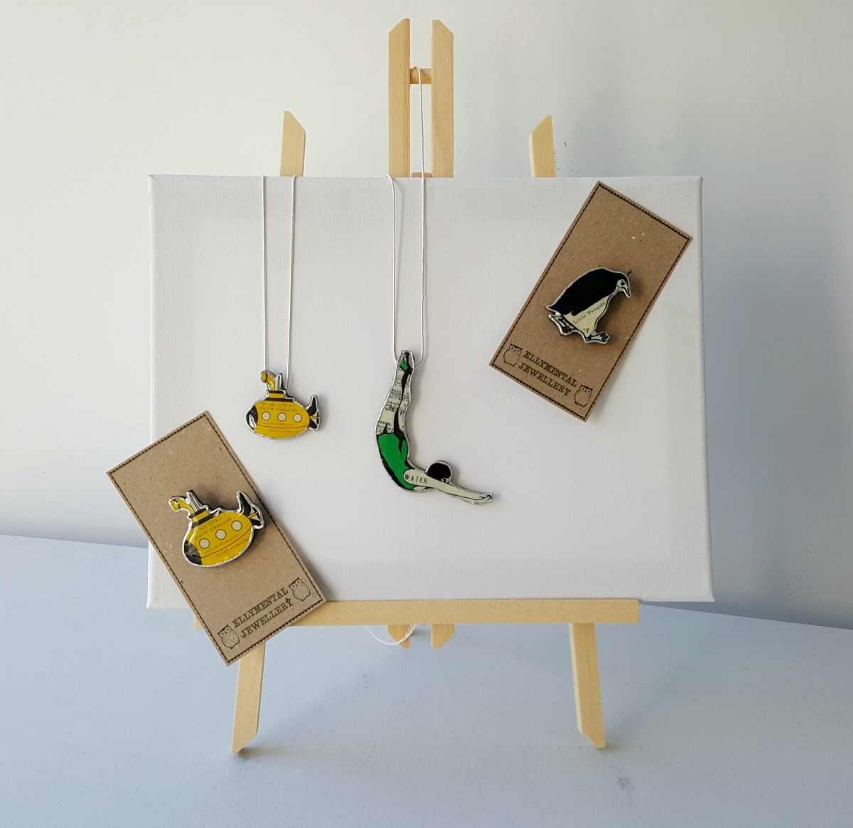Ellymental Jewellery Collection - Yellow Submarine Brooch, Yellow Submarine Necklace, Green Diver Necklace and Little Penguin Brooch