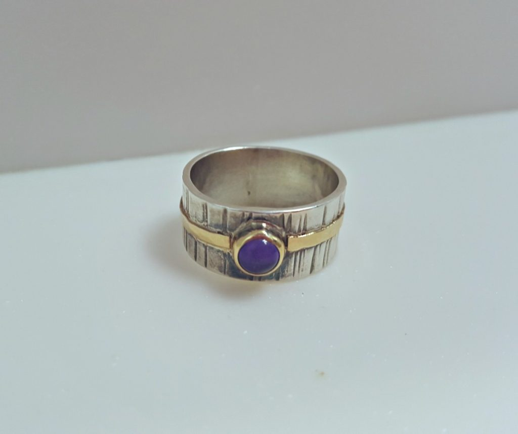 Ruth Praill Ring (Silver and Gold with Amethyst)