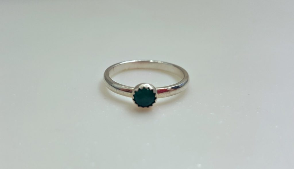 Becky Pearce Ring (Silver with Green Stone)