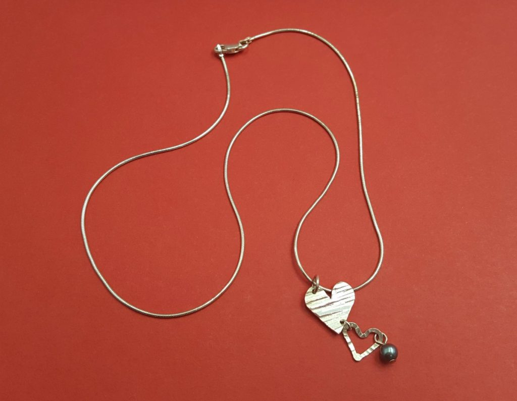 Angie Young Double Heart Necklace with Blue Bead