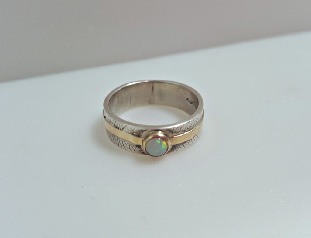 Ruth Praill Ring (Silver and Gold with Moon Stone)