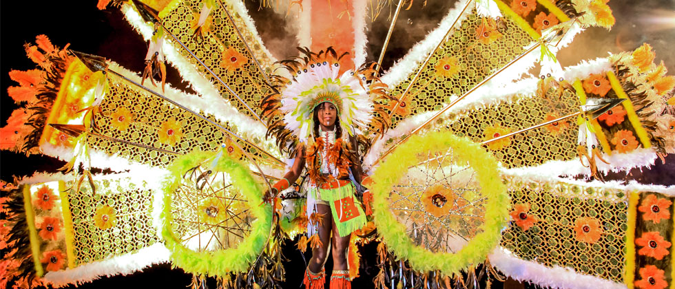 Person dancing in large carnival costume