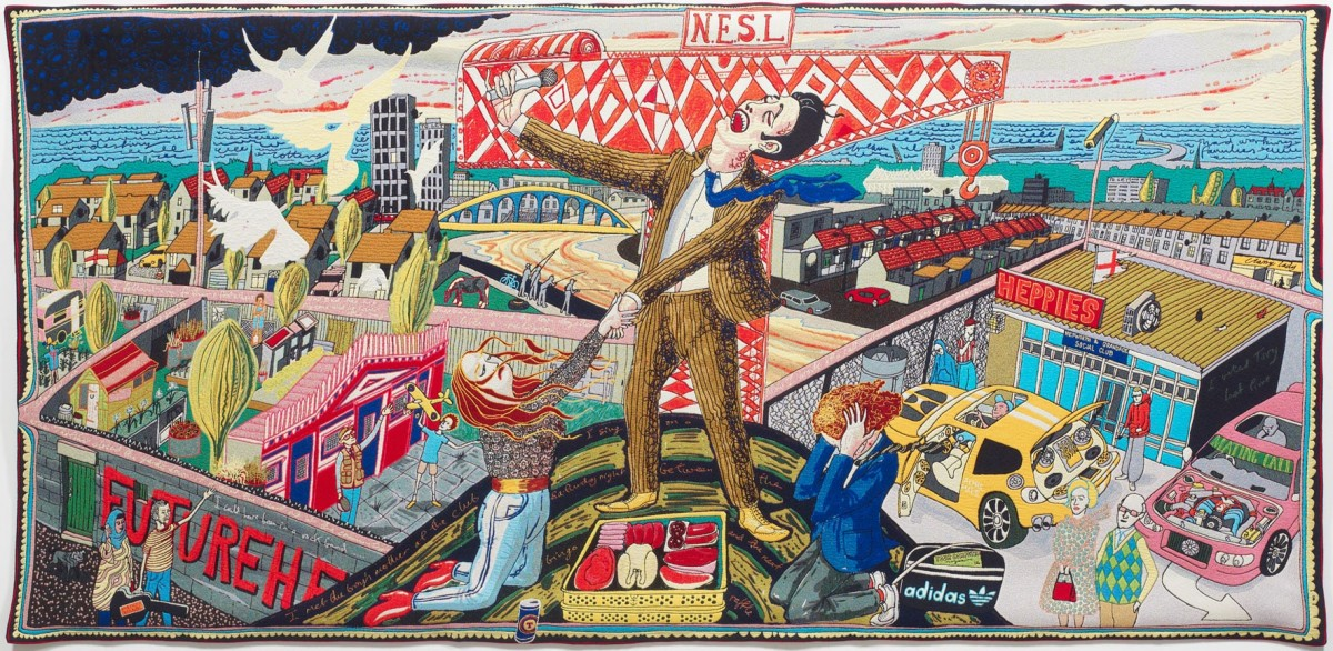 The Agony in the Car Park - large tapestry from Vanity of Small Differences by Grayson Perry