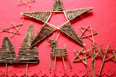 Alison Walling willow weaving examples of reindeer and stars