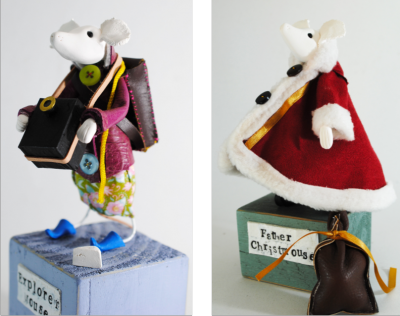 mixed media mouse sculptures by Kathryn Ashcroft