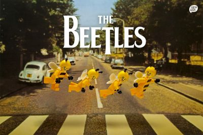 minifigure bee people parody of Abbey Road album cover
