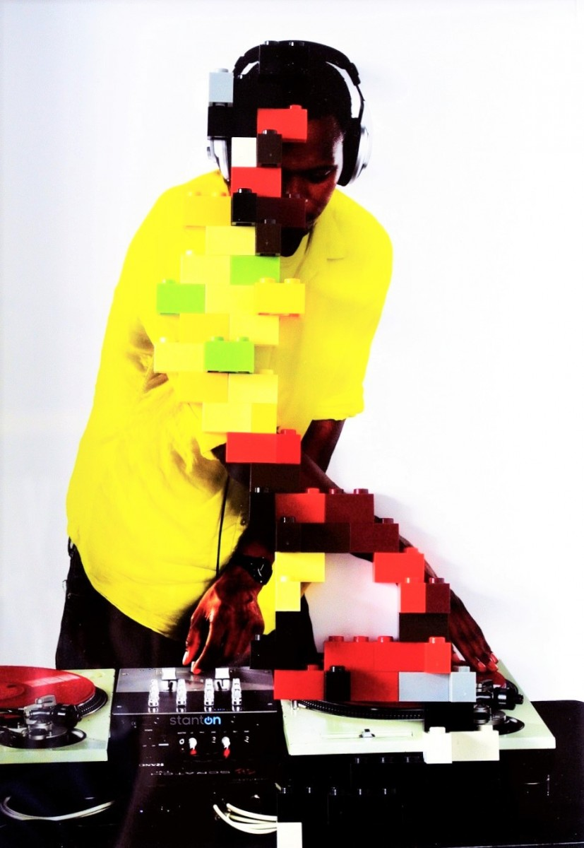 photograph of a dj pixelated with LEGO bricks by Zino