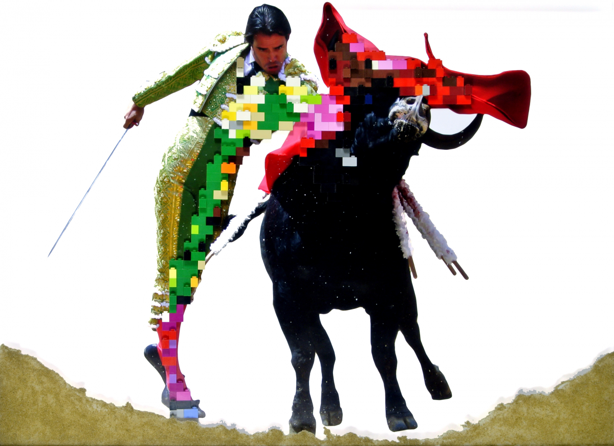 Spanish Ballet (Torero) bullfighting picture modified with LEGO bricks by Zino