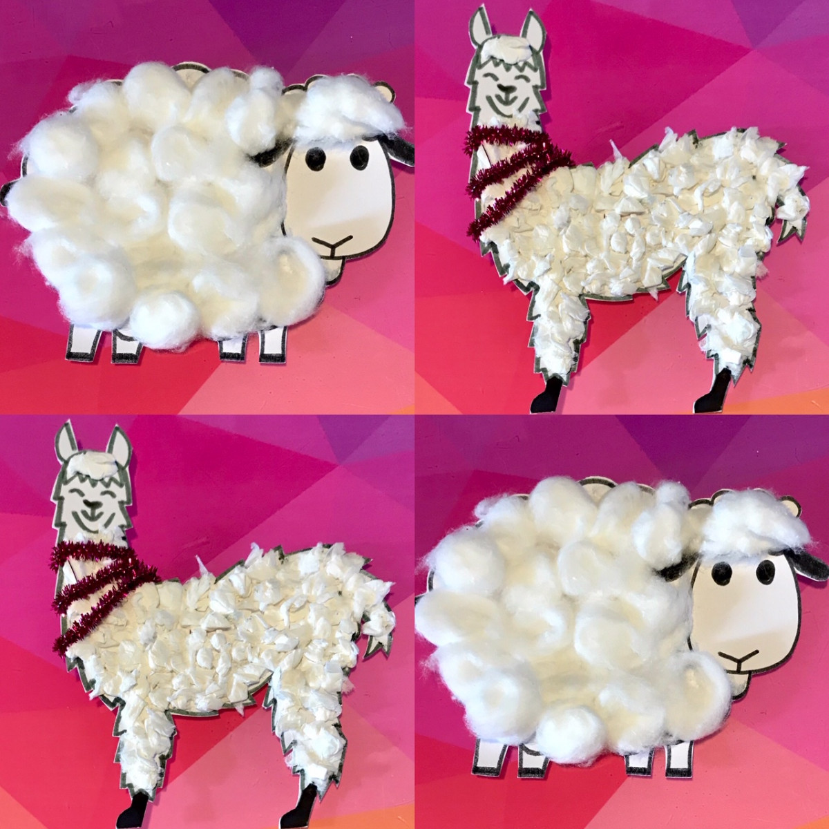 cotton wool sheep and llamas