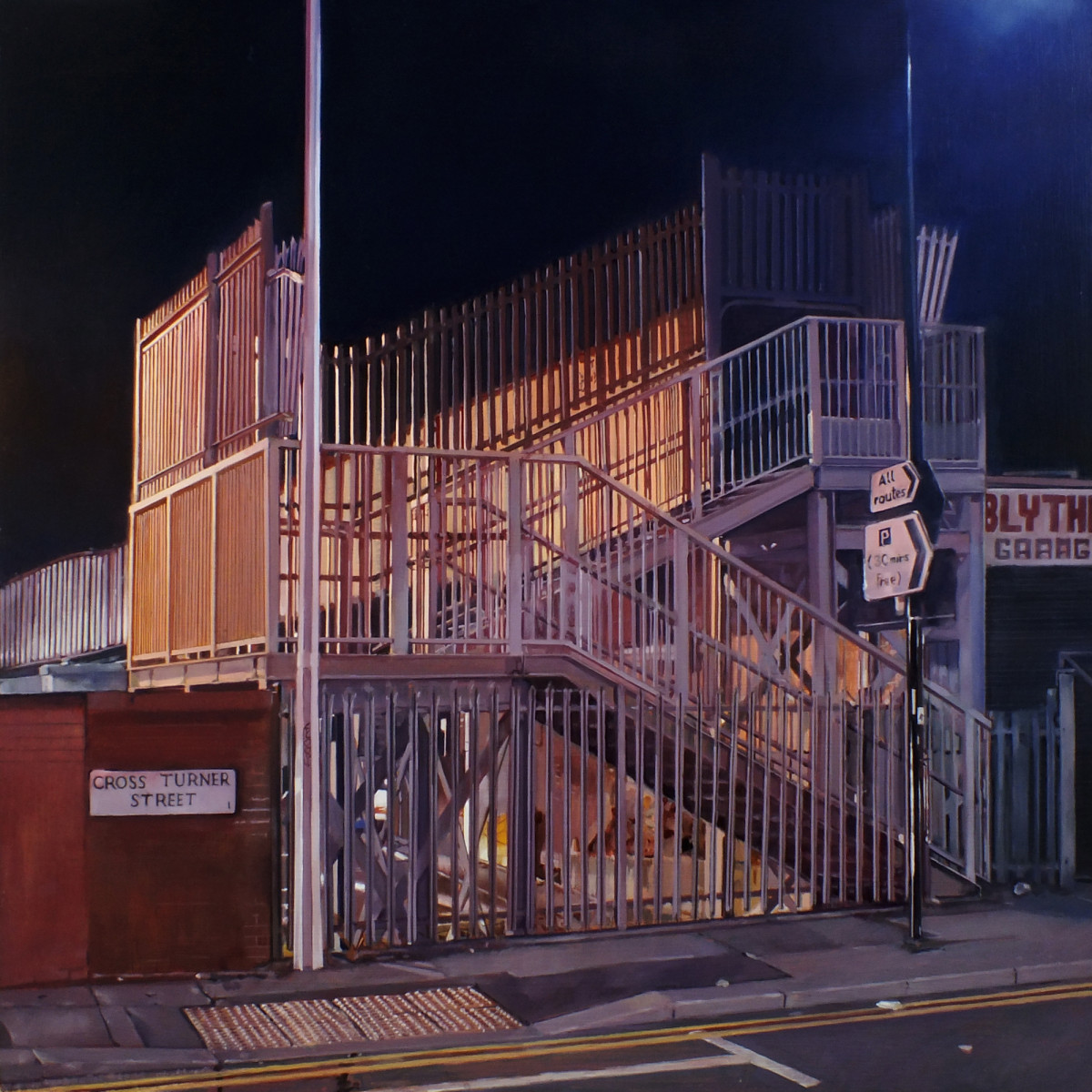 Muggers Bridge by Andy Cropper - a detailed painting of steps up to a footbridge at night