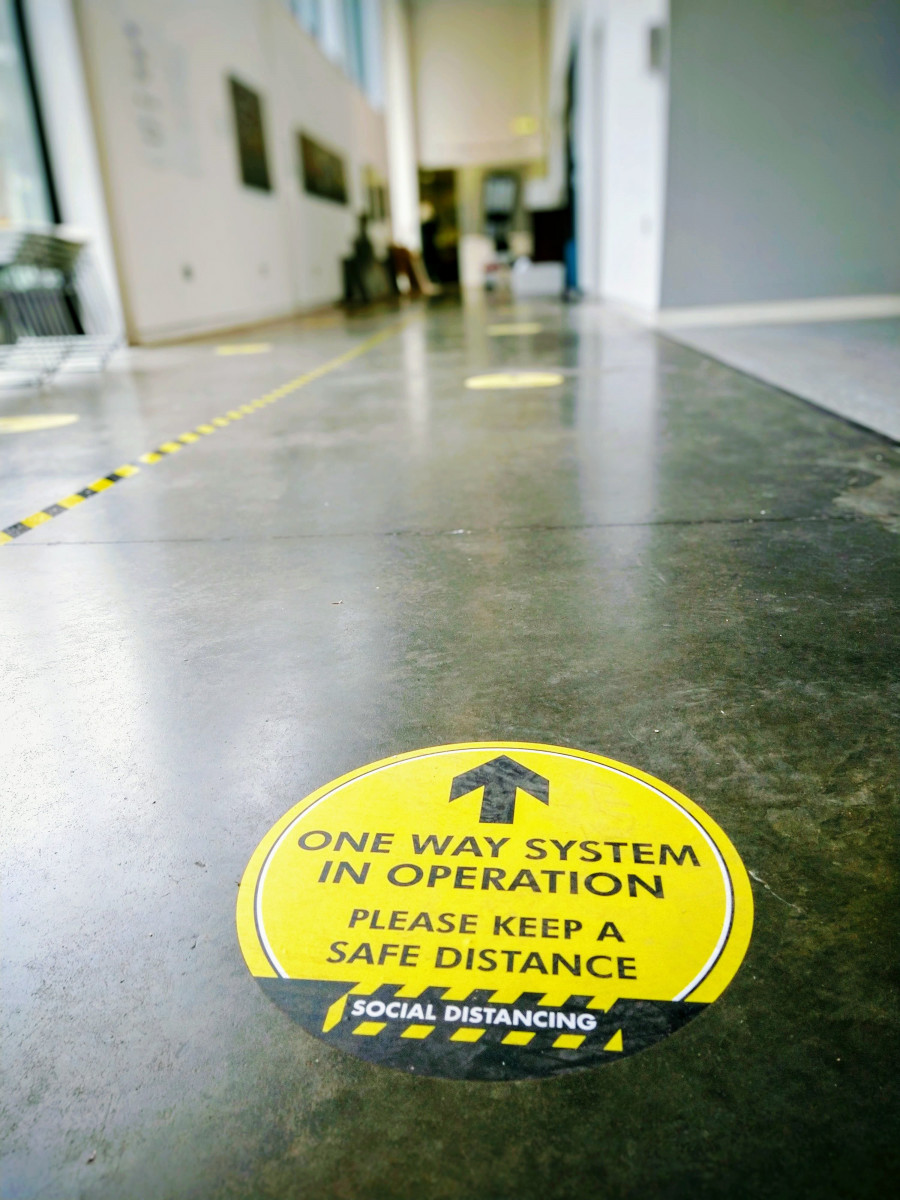 Covid one way system floor sticker