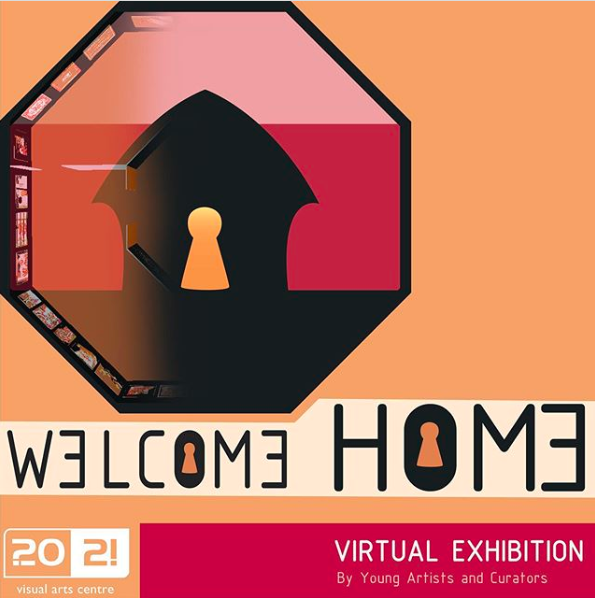 The Welcome Home logo showing a simplified silhouette of a house in an octagonal surround, with a glowing keyhole shape in the centre - Welcome Home is a virtual exhibition by young artists and curators