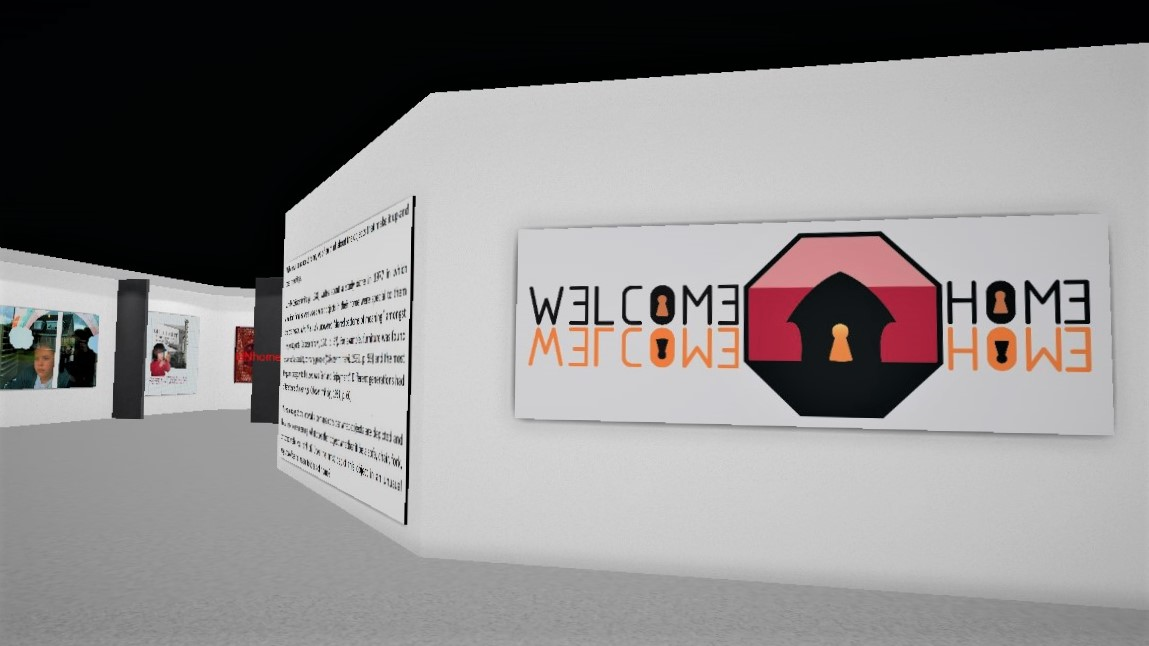 screenshot of the Welcome Home 3D virtual exhibition space