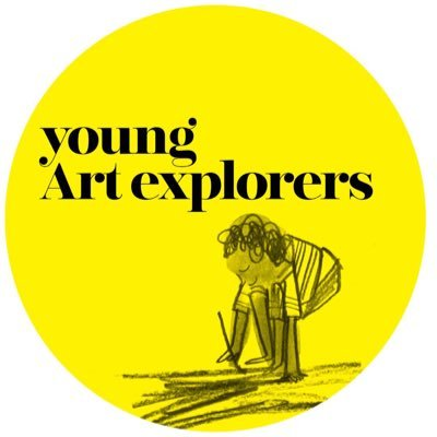 Young Art Explorers logo - featuring an illustration of a young child drawing on the floor, on a yellow background.