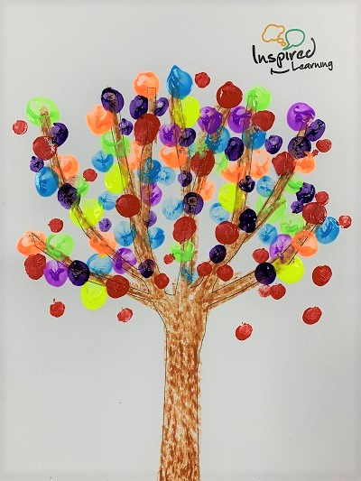 Picture of a tree with multicoloured fingerpainted leaves