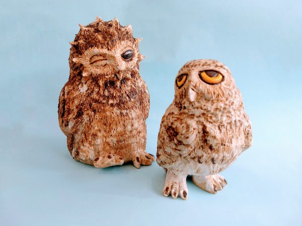 Two textured ceramic owls by Zoo Ceramics