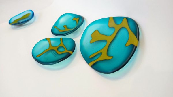 Helen Smith glass dishes in aqua with a seaweed motif