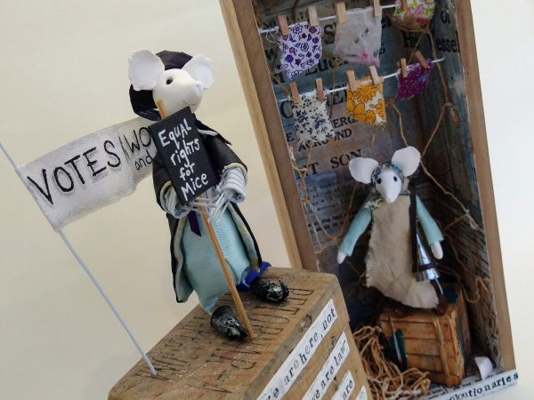 Two mixed media mouse sculptures, representing historical characters Emmeline Pankhurst and Lillian Belocca
