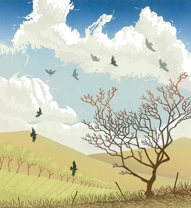 Linocut print of a windswept landscape with a cloudy blue sky, bare tree and flying birds