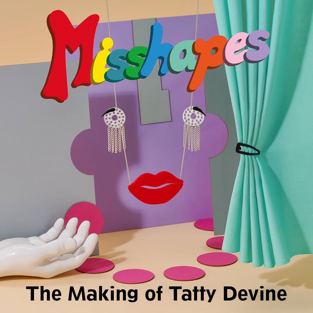 Colour graphic for Misshapes: the Making of Tatty Devine showing a face themed necklace