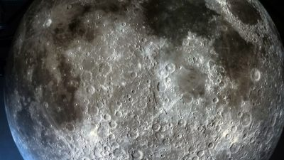 Close up view of a section of the surface of Museum of the Moon