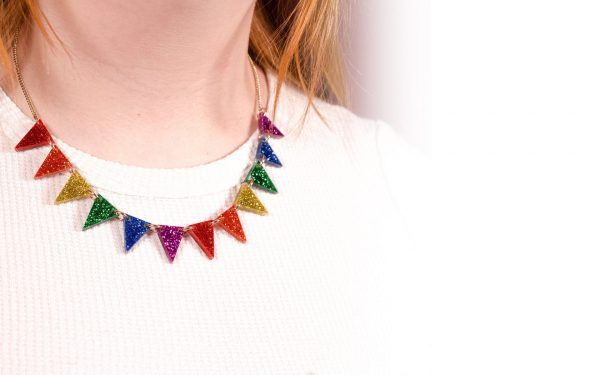 Multicoloured sparkly bunting themed Tatty Devine necklace