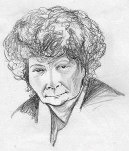 Pencil portrait of an elderly woman by Christine Williams