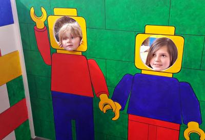 Two children using the Brick City Selfie Booth