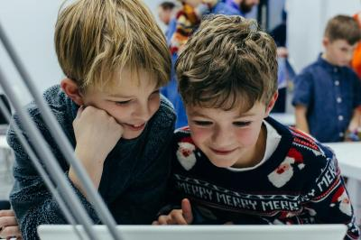 Two boys doing an activity