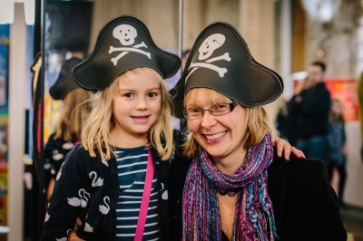 Mother and daughter in pirate hats -Pirates, Pants and Wellyphants. Credit: James Mulkeen