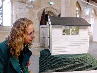 Louise looking at shed