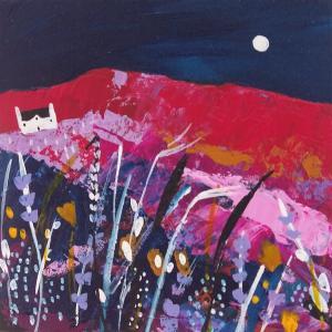Stylised landscape painting by Morag Lloyd