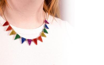 Rainbow Glitter Bunting necklace by Tatty Devine