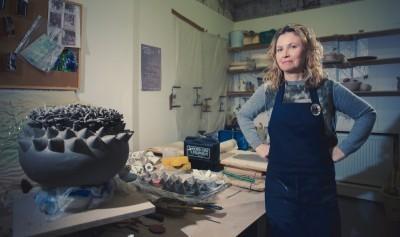Adele Howitt in her ceramics studio. Image credit: Graeme Oxby
